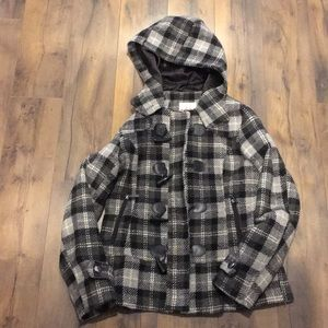 Hydraulic juniors black plaid dress coat large